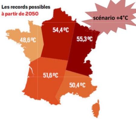 Plus de 55 °C en Grand Est à partir de 2050