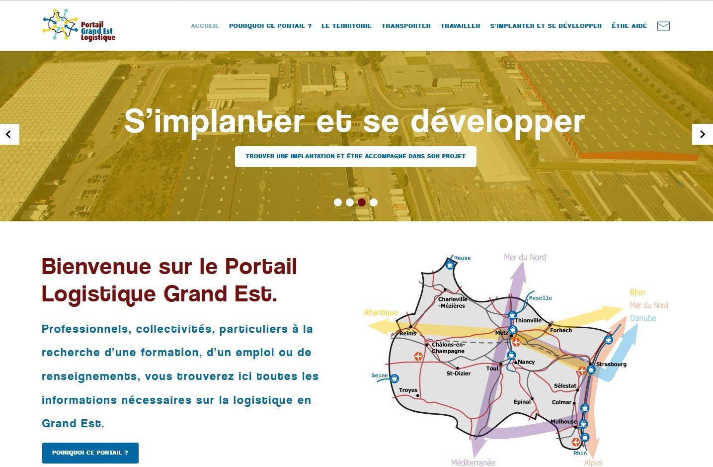 Page d'accueil du Portail Logistique Grand Est