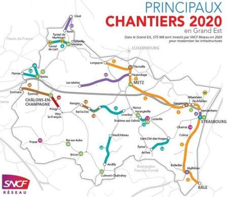 Carte des principaux chantiers réalisés par SNCF Réseau en Grand Est en 2020