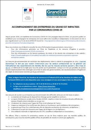 Mesures et accompagnements destinés aux entreprises impactées par l'épidémie de Covid-19