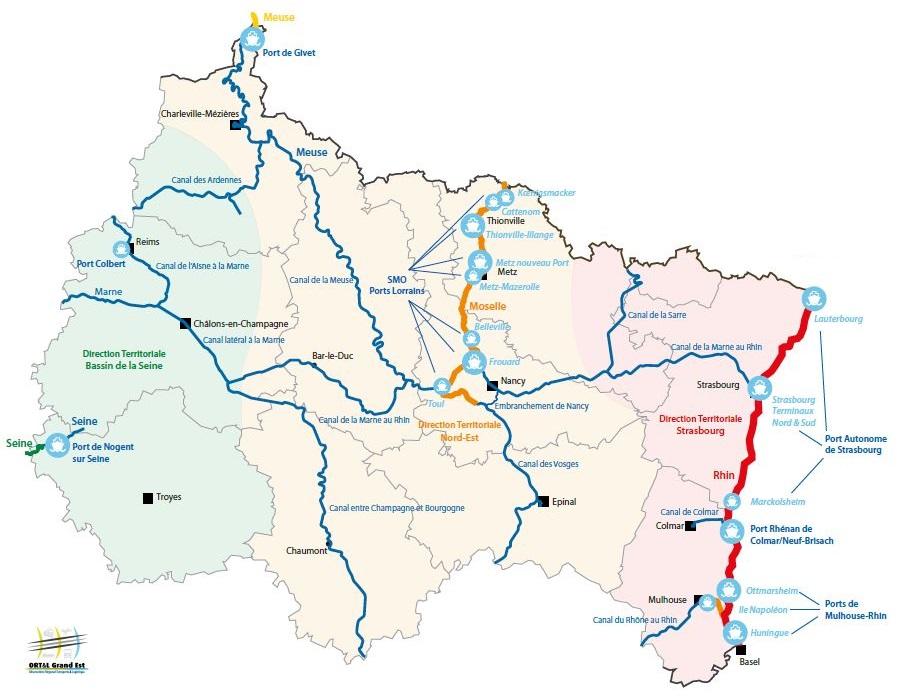 Le réseau fluvial en Grand Est